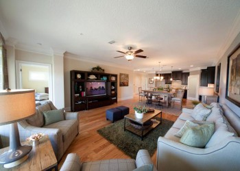 Image of living room looking into the dining room and kitchen
