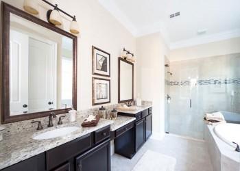 Wide angle of a bathroom