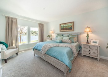 Wide angle of a bedroom