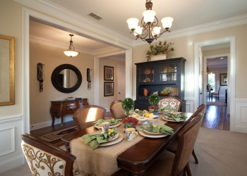 Wide angle of a dining room