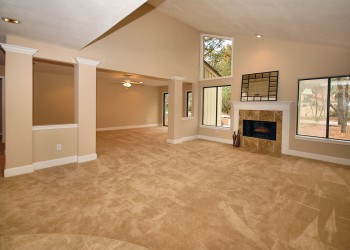 Wide angle of a living room